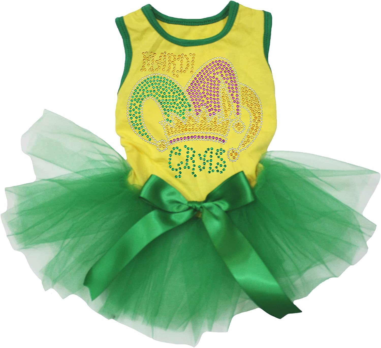 Petitebella Rhinestone Mardi Gras Clown Hat Yellow Shirt Green Tutu Puppy Dog Dress
