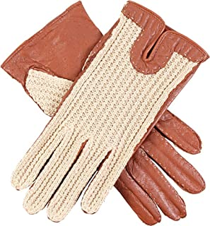 Dents Womens Kelly Crochet Back Driving Gloves - Cognac Tan