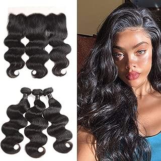 8A Brazilian Virgin Hair Body Wave Bundles with Frontal Body Wave Lace Frontal with Bundles Brazilian Body Wave Human Hair with Frontal Closure (14 16 18+12, Natural Color)