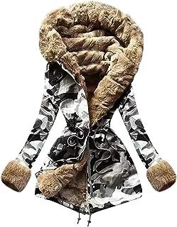 TOPEREUR Donna Cappotto in Peluche con Stampa Vintage Manica Lunga Inverno Caldo Giacche con Cappuccio Floreale Stampa Tasche Cappotto Sciolto Cardigan in Stile Etnico Chiusura di Bottone o Cerniera