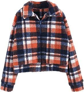 ZAFUL Women's Fluffy Faux Fur Plaid Short Jacket Turn-Down Collar Shearling Winter Warm Coat Outwear