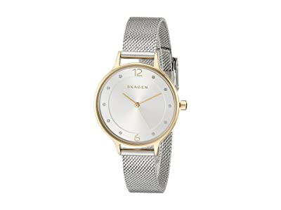 Skagen Anita Three-Hand Watch (SKW2340 Gold Silver Stainless Steel Mesh) Analog Watches