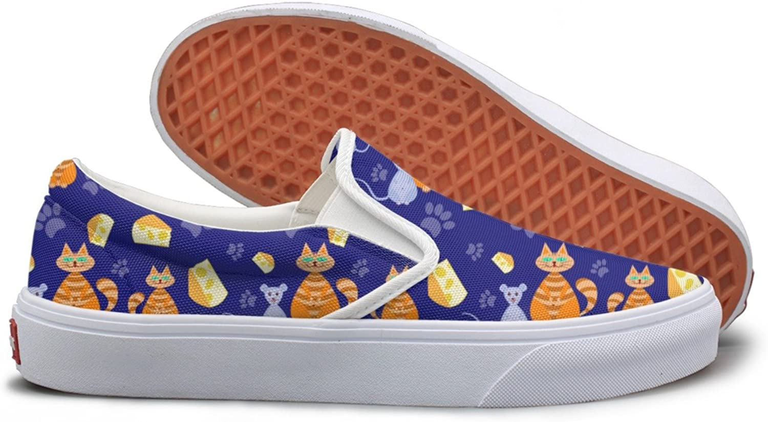 SEERTED Cat and Mice Sandwich bluee Background Youth Sneakers Mesh