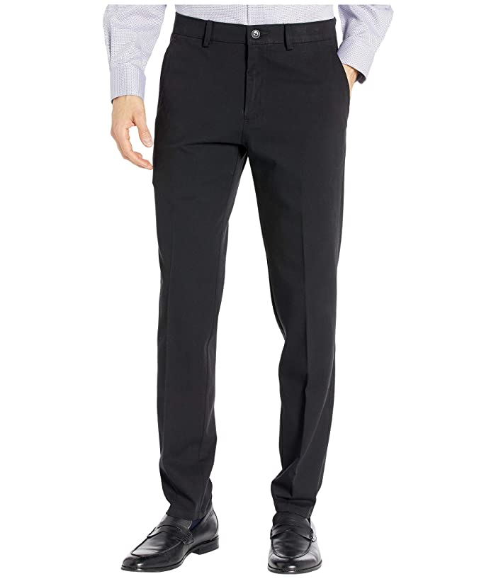 Kenneth Cole Reaction  Four-Way Stretch Solid Twill Slim Fit Flat Front Chino (Black) Mens Dress Pants