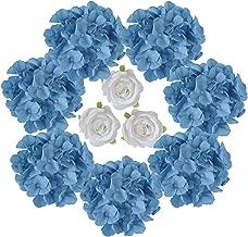 Artificial Silk Hydrangeas Artificiial Roses Flowers Head with Stem for Wedding Table Centerpiece Wedding Arch Bridal Bouquet Aisle Backdrop Flower Arrangement Weddong Decor (Blue)