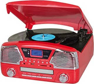 Trevi Tt 1068 E Bluetooth Stereo Turntable System with Radio and Remote Control, Red (0T106802)