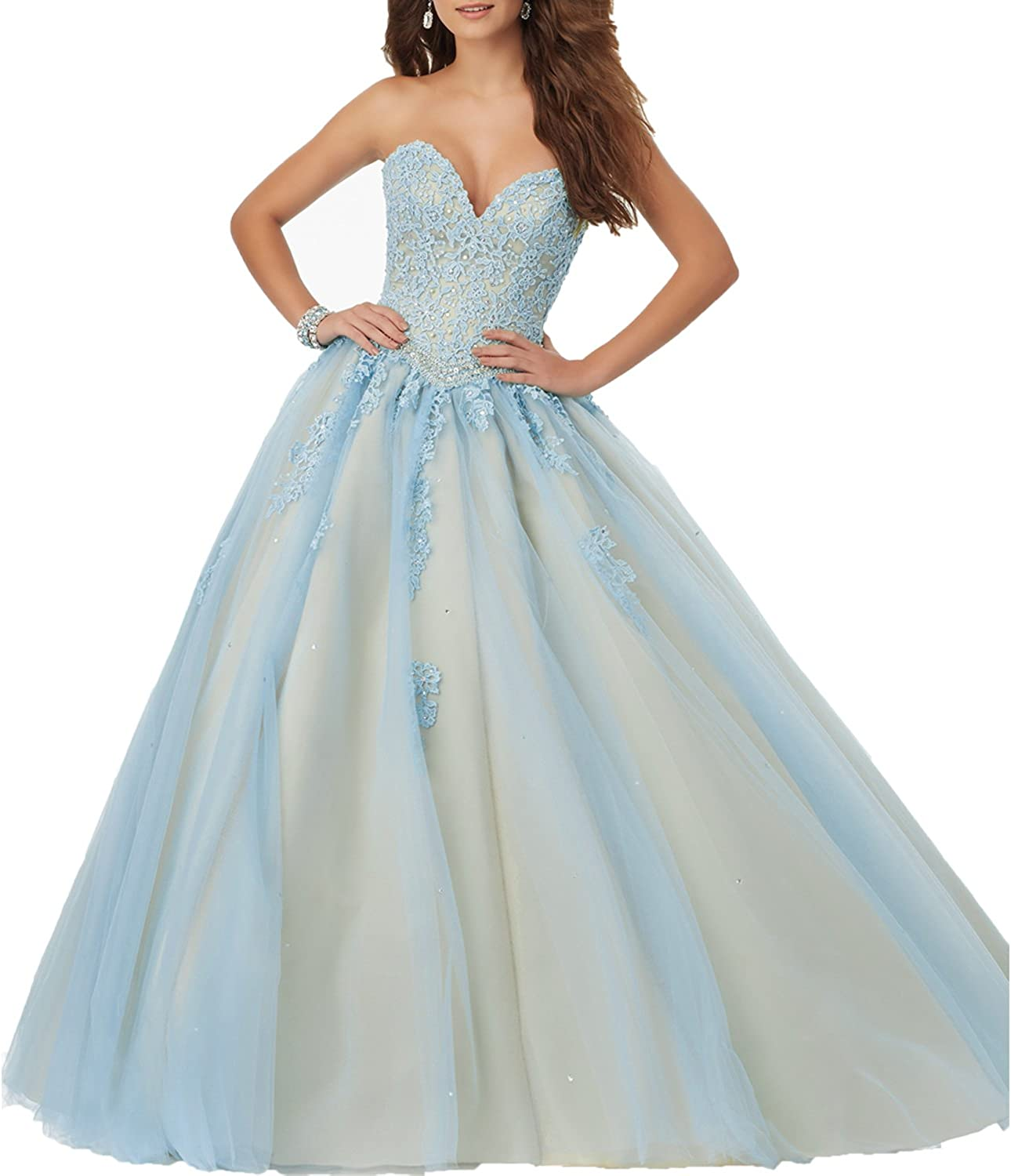 Beauty Bridal Sweetheart Beaded Lace UP Prom Ball Gown Quinceanera Dress