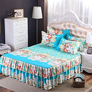 YURASIKU Blue Floral Printed Bed Skirt Polyester Bedspread Matress Cover for Twin Queen King Size Bed