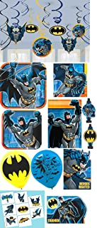 Amscan Batman Birthday Party Pack! Bundle Plates, Napkins, Invitations, Thank Yous, Loots Bags, Blowouts, Washable Tattoo Favors, Balloons Hanging Decorations
