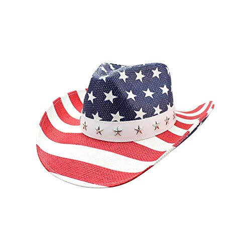 2800388f4f2a83 Luxury Divas Red White and Blue Star Studded Straw Cowboy Hat