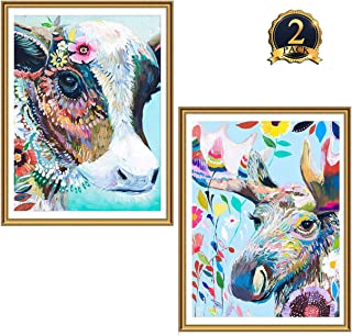 2 Pack 5D Diamond Painting Colorful Cow & Deer Full Drill by Number Kits for Adults Kids, Ginfonr Craft Rhinestone Cattle Moose Reindeer Paint with Diamonds Set Arts Decorations (12x16inch)