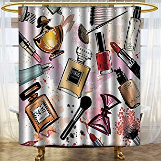 NALAHOMEQQ Girly Decor Shower Curtain Set by Cosmetic and Make Up Theme Pattern with Perfume and Lipstick Nail Polish Brush Modern City Lady Bathroom Accessories ExtraMulti(60