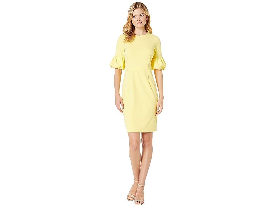 MARINA 3/4 Bubble Sleeve Dress (Yellow) Women