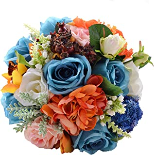 Abbie Home Wedding Bride Bouquet Blue White Rose Real Touch Orange Dahlia Silk Flowers with Berry Leaf Decoration (D501)
