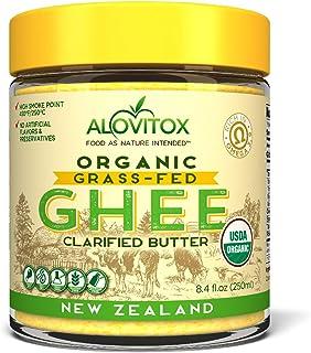 Alovitox Organic Grass-Fed Ghee From New Zealand 8.4 Oz Certified Organic, Gluten-Free and Keto Friendly