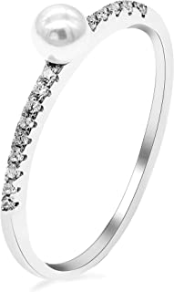 Uloveido Women's 925 Sterling Silver Half Eternity Band Simulated Pearl Solitaire Accent Stack Anniversary Ring for Women1.2g WE248