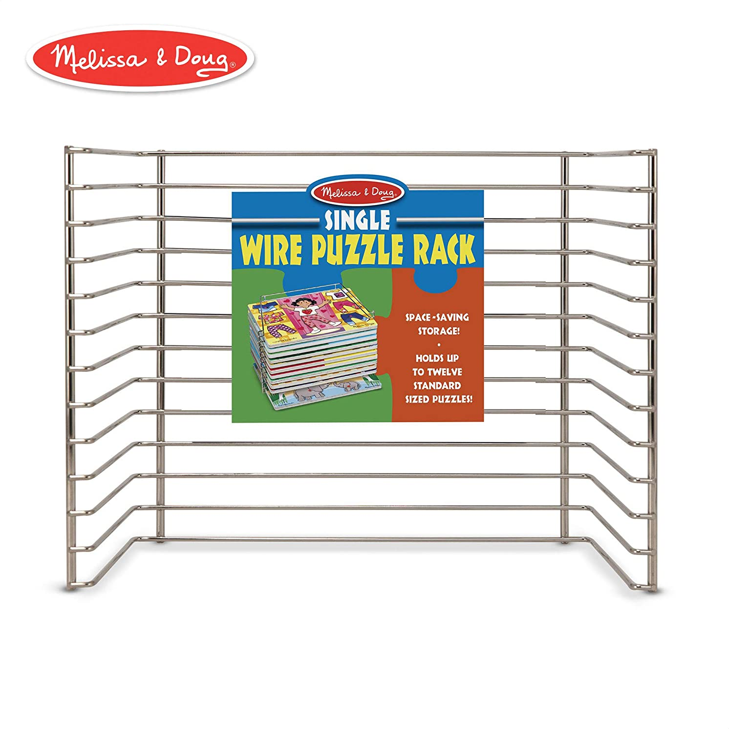 "Melissa & Doug Wire Puzzle Storage Rack (Arts & Crafts, Sturdy Metal Construction, Pre-Assembled, Peg Puzzle Storage, 8.5"" H x 8.5"" W x 12"" L)"