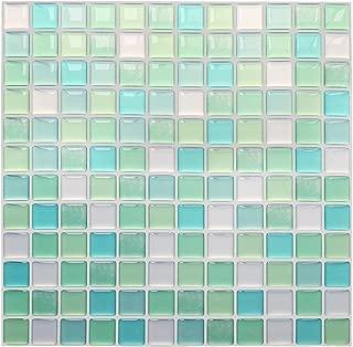 Yoillione 3D Mosaic Tile Sticker Removable Wallpaper Tile Green, 3D Self Adhesive Wall Tiles Bathroom Wall Tiles for Kitchen Backsplash Green, PVC Square Decorative Vinyl Tile Decals, 4 Sheets