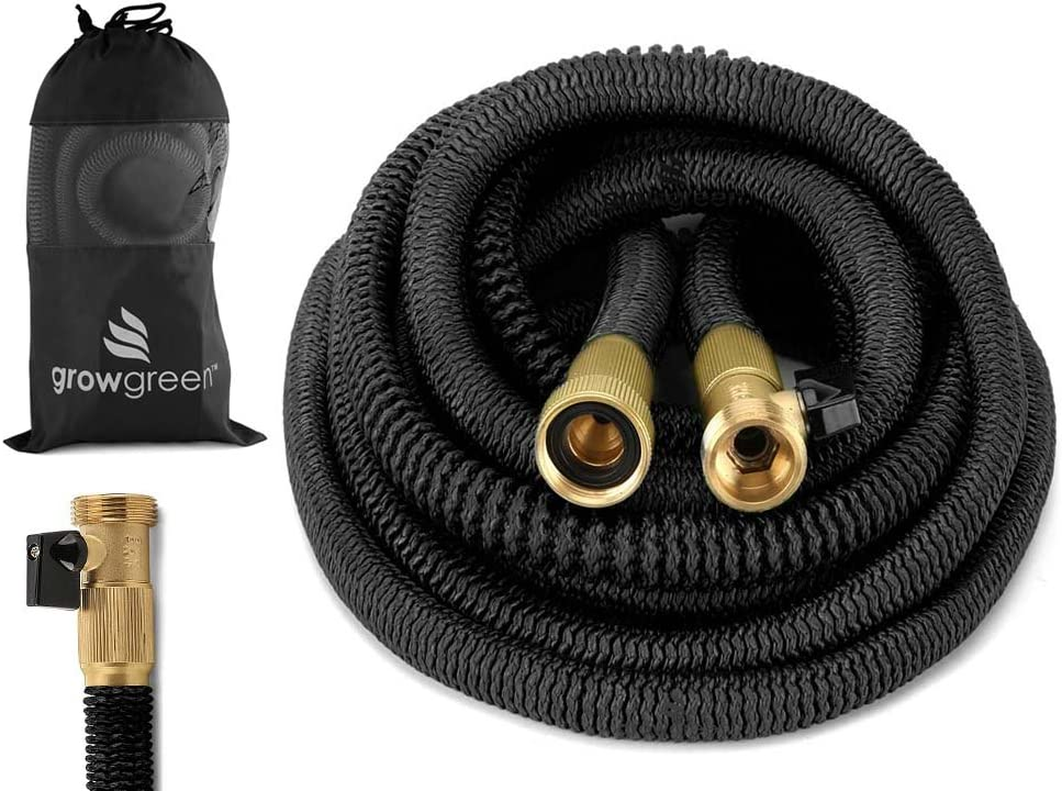 GrowGreen 2017 Heavy Duty 100' Feet Expandable Hose Set, Strongest Garden Hose On Earth. with All Solid Brass Connector + Storage Sack,