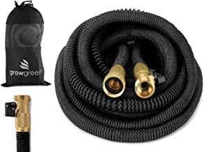 GrowGreen 2017 Heavy Duty 25' Feet Expandable Hose Set, Strongest Garden Hose On Earth. with All Solid Brass Connector + Storage Sack,