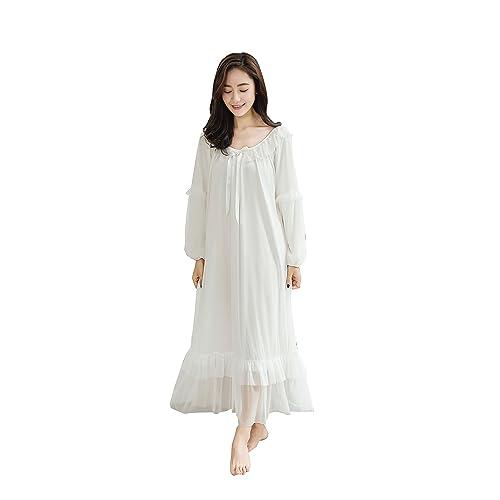Soudoog Ladies Women s Long Sleeve Victorian Cotton Flannel Lace Satin  White Pink Nightdress Pajamas Nightwear Sleepwear ba58e5411