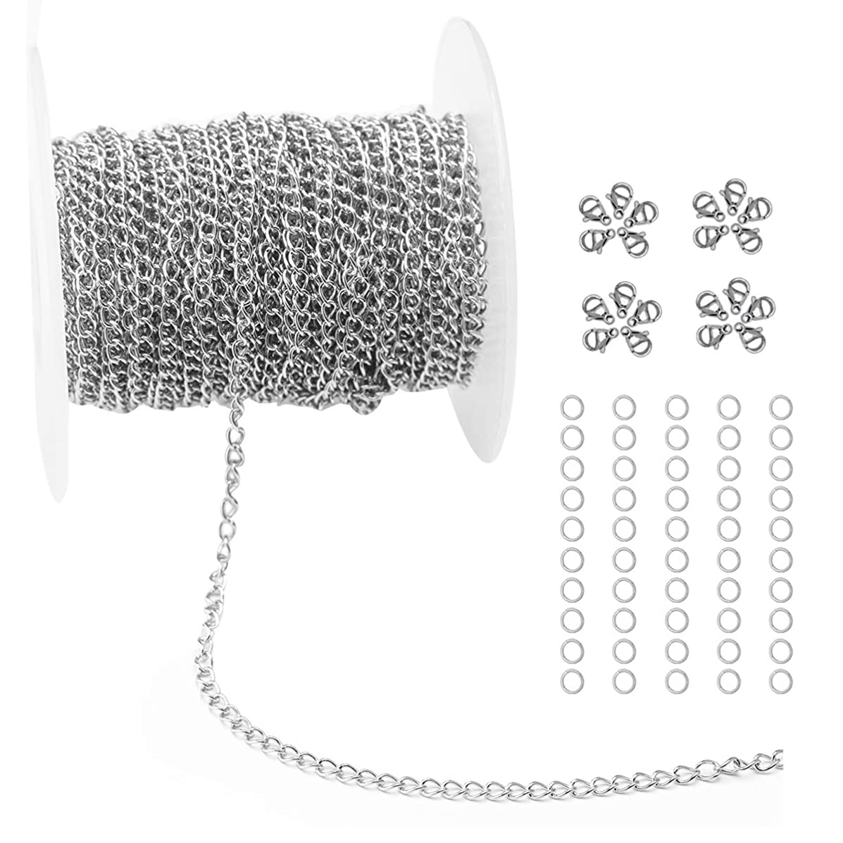 Tiparts 33FT Silver Cable Chains Stainless Steel Extender Chains Link Necklace Bulk for Jewelry Making with 20 Lobster Clasps and 50 Jump Rings (Silver, 2.5mm)