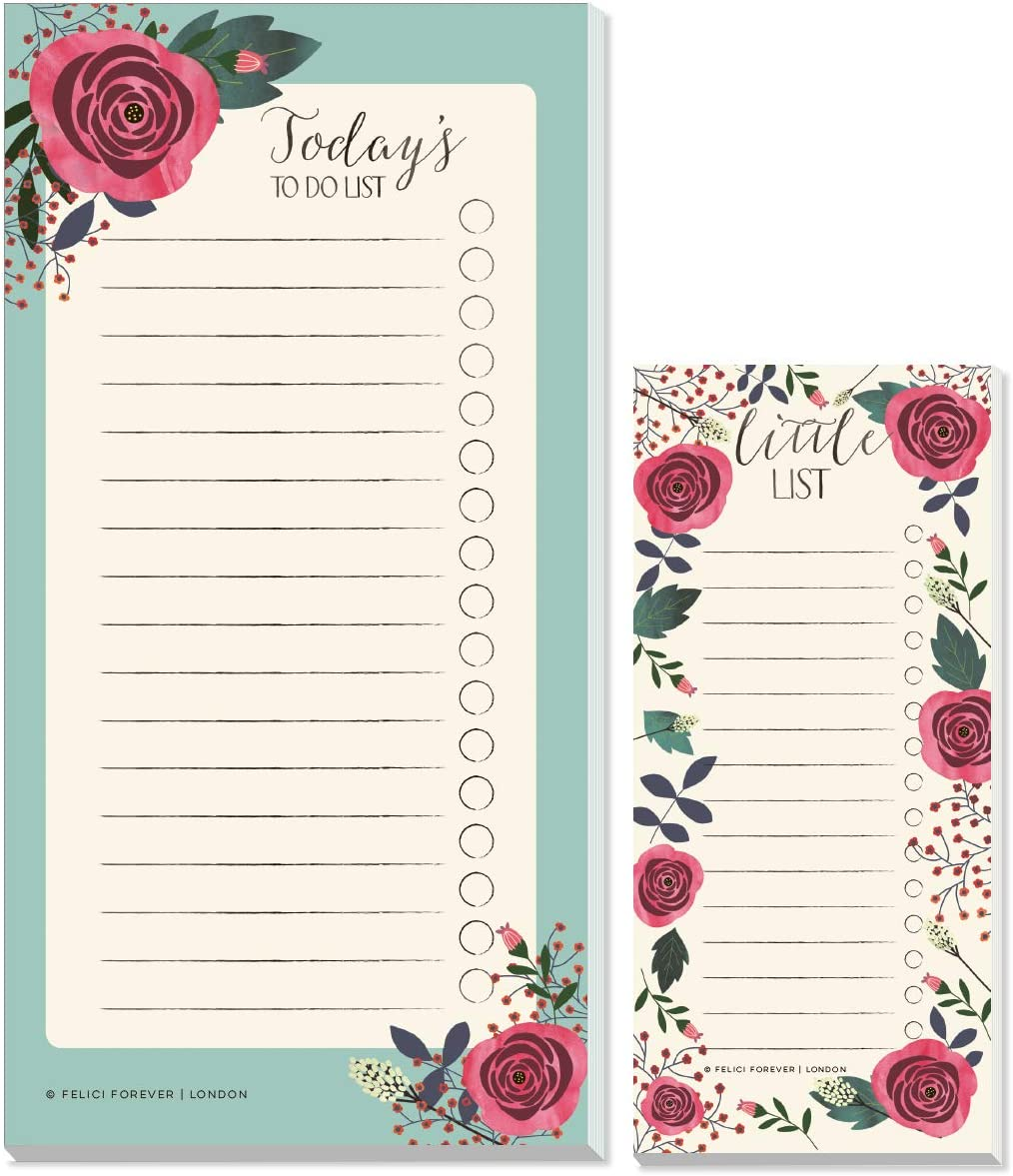 Felici Forever Daily to Do List Note-pad Floral Things to Do Today List Pad Slim Check List Note Pad Shopping List Tear Off Sheets 2 Pack