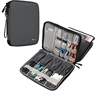 BUBM Electronics Organizer, Double Layer Electronics Bag Compatible with iPad, Cables, Plugs, External Hard Drives and More, Gray