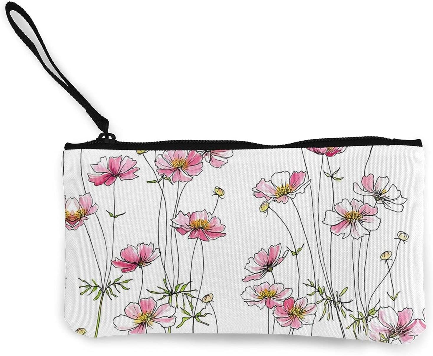 Pink Cosmos Flowers Zipper Pouch/ Canvas Coin Purse Wallet/ Cute Mini Change Wallet For Women/ Pouch Card Holder Phone Storage Bag