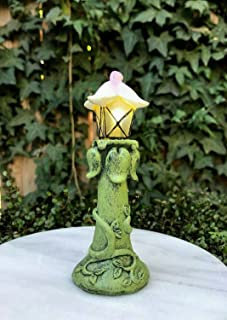 Miniature Dollhouse Fairy Garden Figurine ~ LED Light Up Flower & Vine Lamp Post