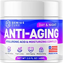GENIUS Anti Aging Cream for Face - Day & Night Wrinkle Cream - Boosted with Hyaluronic Acid & Vitamin A+E - Natural Firmin...