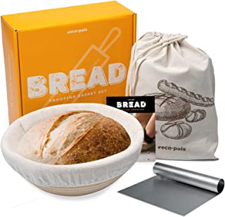 Eco-Pals | 9 inch Bread Banneton Proofing Baskets for Sourdough Bread + Dough Scraper + Linen Bread Bags | Brotform French...