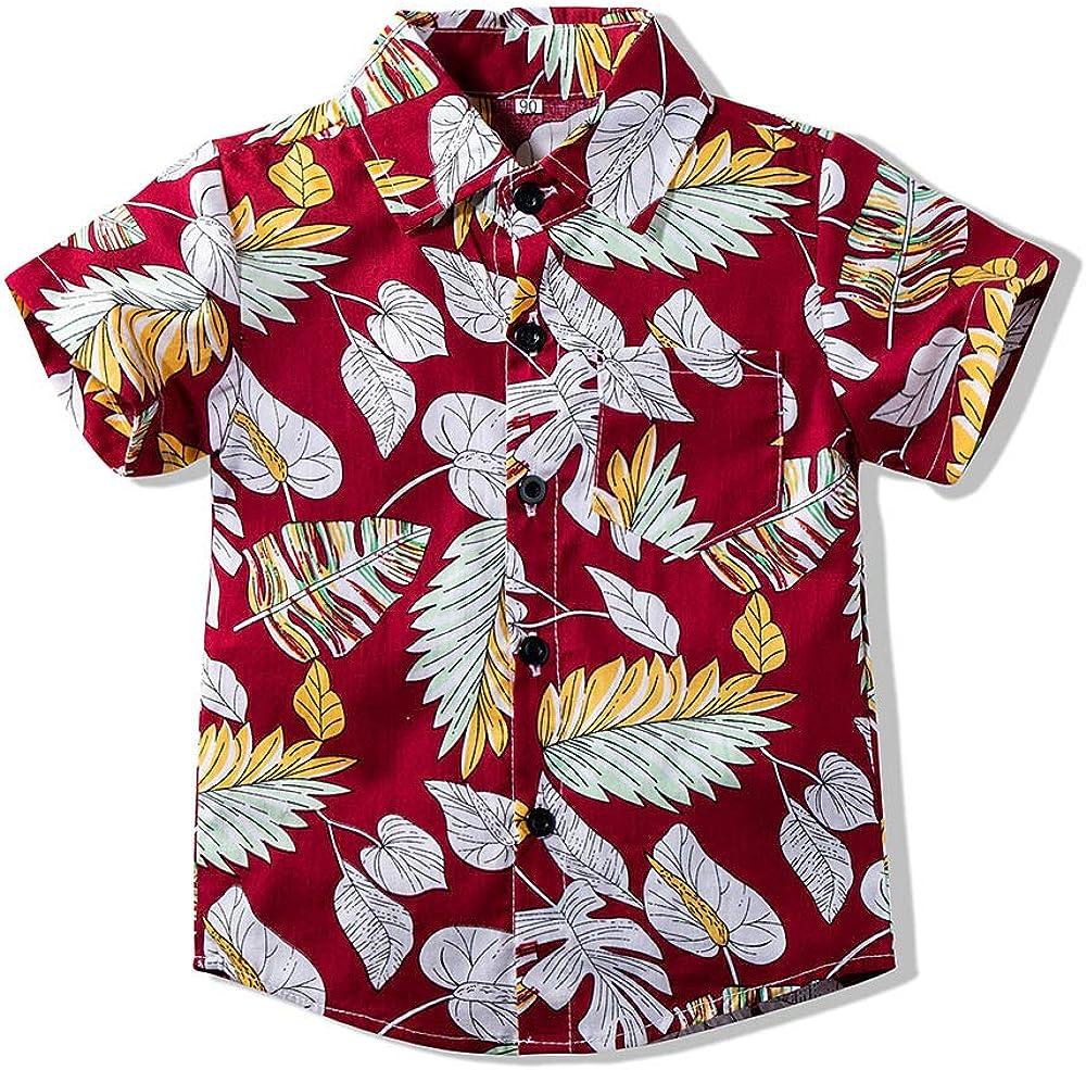 Little Baby Boy's Button Down Hawaiian Shirts Short Sleeve Cool Cartoon Print Aloha Dress Tops T-Shirt for Kids