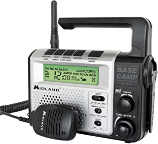 Midland - XT511, 22 Channel Emergency Crank Base Camp Radio - 5 Watt GMRS Two-Way Radio with 5 Power Options, 121 Privacy Codes, 3-LED Flashlight & NOAA Weather Scan + Alert  (Gray/Black)