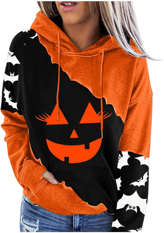 Halloween Sweatshirts for Women Long Sleeve Crewneck Drawstring Pullover Pumpkin Print Oversized Hoodies with Pockets
