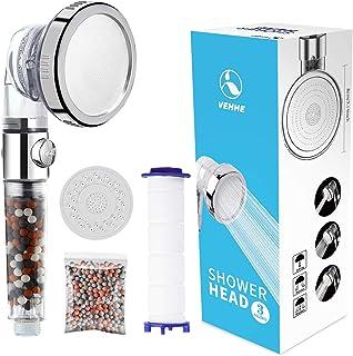 VEHHE Douchekop Krachtige stroom met kralenfilter Hoge drukverhogende handdouchekoppen Spray met 3 modi Waterbesparend Ont...