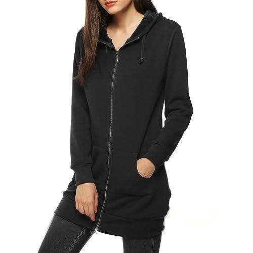 f1c3d6c02 Zeagoo Women Casual Zip up Fleece Hoodies Tunic Sweatshirt Long Hoodie  Jacket Black
