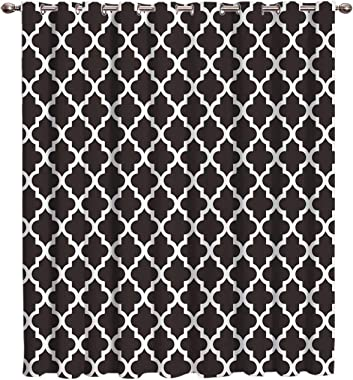 Geometric Grids Pattern Thermal Insulated Blackout Window Curtains/Treatments(1 Panel) Black Doors Curtains and Drapes for Ho
