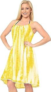 c7e405a057 LA LEELA Women's Summer Casual Loose Swing T-Shirt Beach Sundress Kaftan Cover  Up Cotton