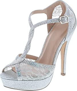Static Footwear Hy-5 Formal Evening Party Lace Ankle T-Strap Peep Toe Stiletto High Heel Pumps