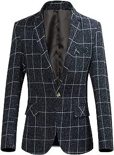Men's One Button Plaid Blazer Slim Fit Suit Jacket Autumn Sports Coat