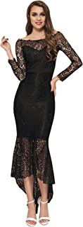 Women Solid Formal Lace Maxi Dress Long Sleeve Off Shoulder Elegant Party Gown Mermaid Dress
