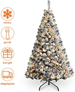HOMAKER Pre-Lit 6FT Flocked Christmas Tree, 250 UL Certificated Clear Lights, Artifical Xmas Tree with Metal Stand