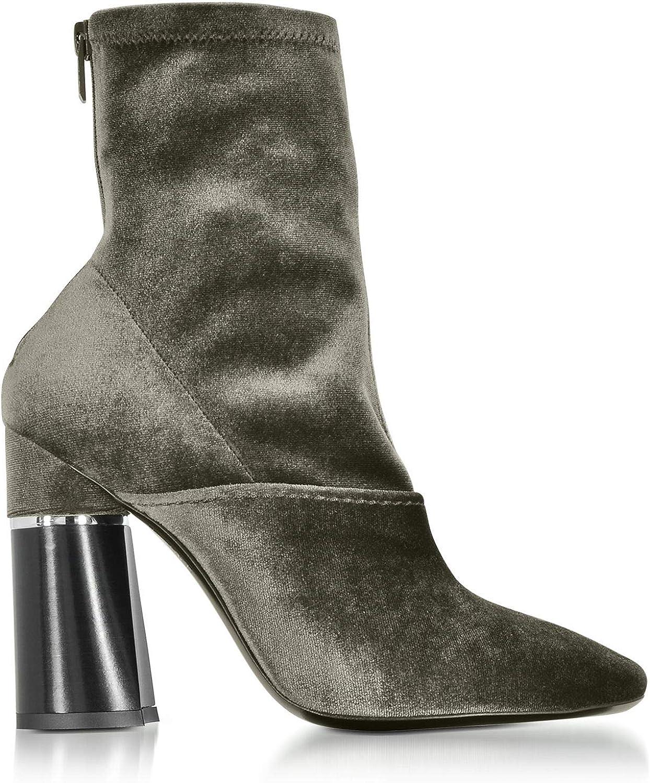 3.1 Phillip Lim Women's SHP7T290SVLOL301 Green Velvet Ankle Boots