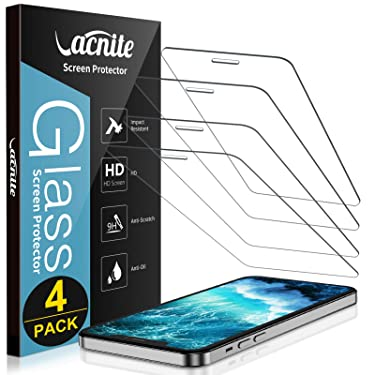 [4 Pack] Compatible for iPhone 12 Pro Max Screen Protector 6.7 Inch, VACNITE Screen Protector Tempered Glass for iPhone 12 Pro Max [Anti-Scratch] [Bubble-Free][Case Friendly][HD Clear]