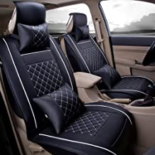 Super PDR Easy to Clean PU Leather Auto Car Seat Covers Cushions Front & Rear 5 Seats Full Set Anti-Slip Backing Universal Fit (Black&White M)