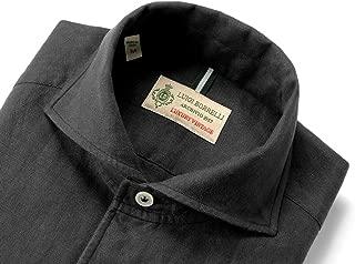 ルイジボレッリ ルイジボレリ LUIGI BORRELLI / 20SS!製品洗いリネンポプリン無地イタリアンカラーシャツ「VESUVIO(9130)」 (ブラック) メンズ