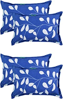 VAS COLLECTIONS® 105 TC 100% Cotton King Size Pillow Cover Combo-20X30 Inches,Set of 4 (Blue & White )