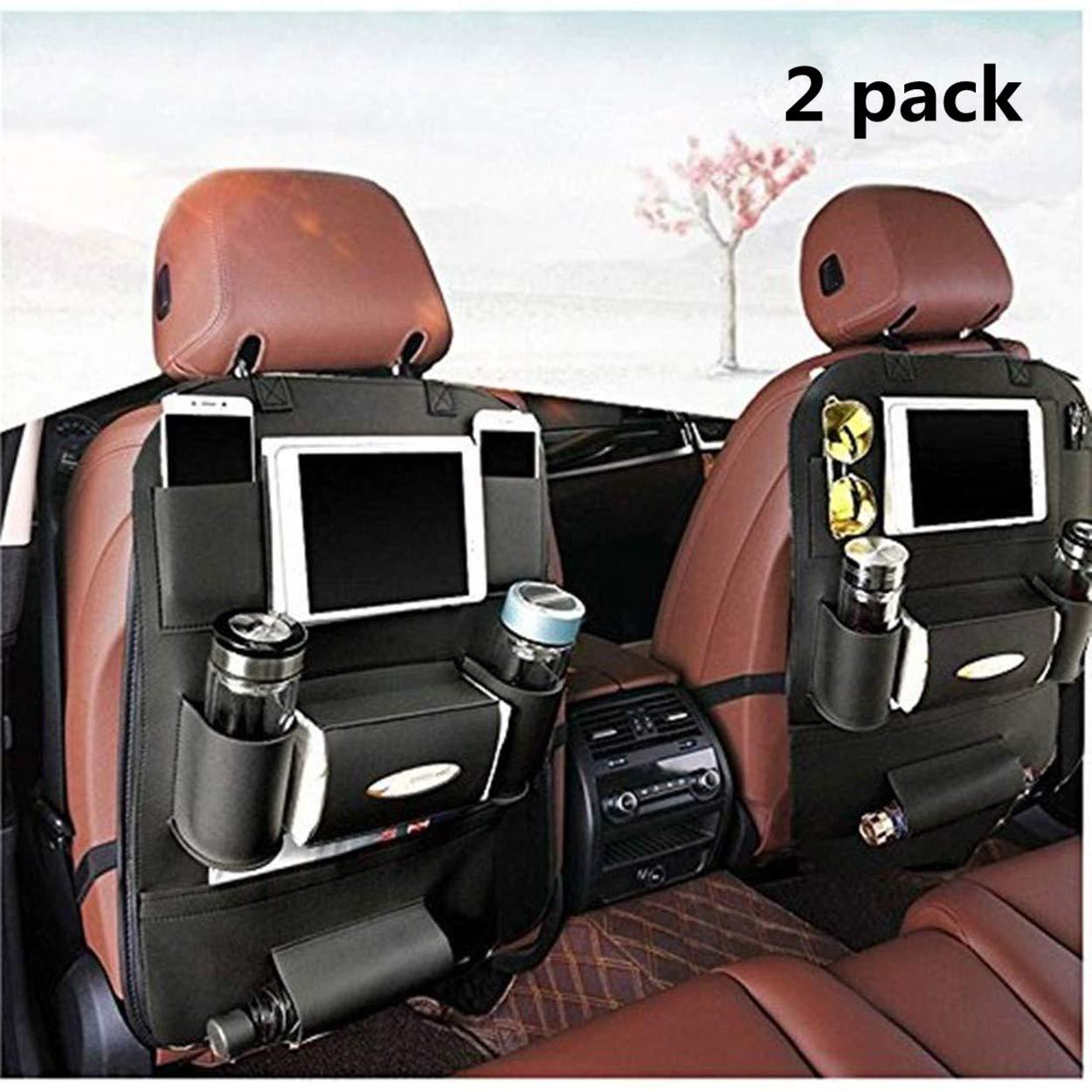 K&K 高级 PU 皮革汽车后座椅收纳袋 - 多用途用作自动座椅靠背保护器 - 儿童玩具存储,后座椅保护罩/踢垫/汽车收纳盒(黑色) 黑色