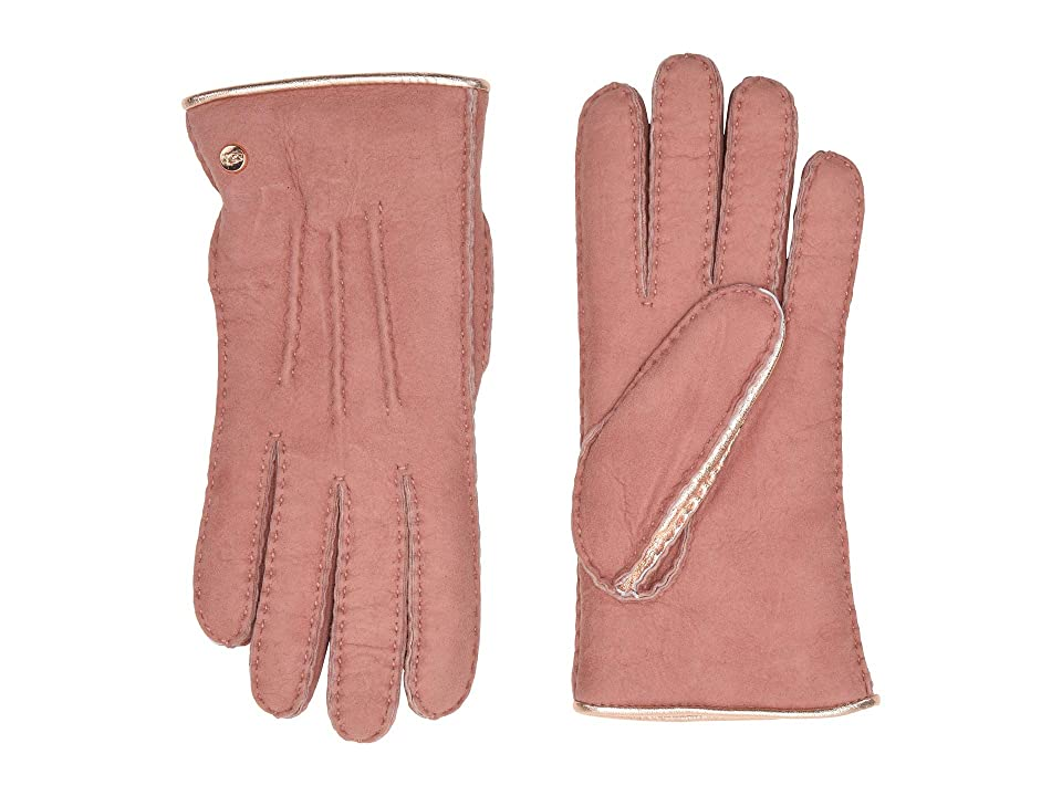 UGG Leather and Water Resistant Sheepskin Mixed Gloves (Lantana Pink) Extreme Cold Weather Gloves